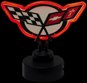 """CORVETTE BAR TOP TABLE TOP C5 CROSS FLAGS NEON SIGN NEW RED NEON TUBE 10.5"""""""