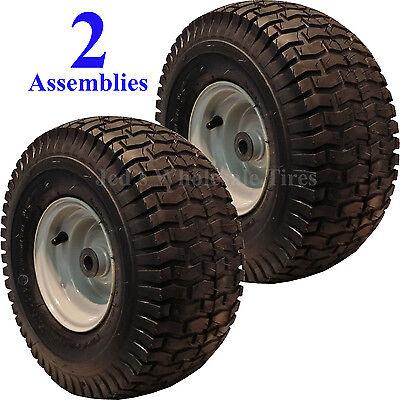 2) 15x6.00-6 15x600-6 15/6.00-6 15/600-6 Lawn Mower Tire Rim Wheel Assembly P35