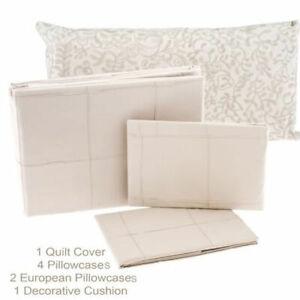 Aura-Beige-Cotton-Queen-Quilt-Duvet-Cover-Set-2-Euros-Embroidered-Cushion