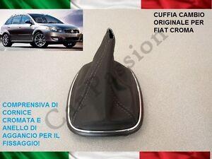CUFFIA CAMBIO FIAT 500X 2015-2018 ORIGINALE IN PELLE NERA CON AGGANCI GEAR BOOT