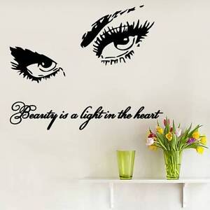 Image is loading Eyes-Wall-Decals-Art-Quote-Beauty-Is-Vinyl-  sc 1 st  eBay & Eyes Wall Decals Art Quote Beauty Is Vinyl Sticker Beauty Salon Home ...