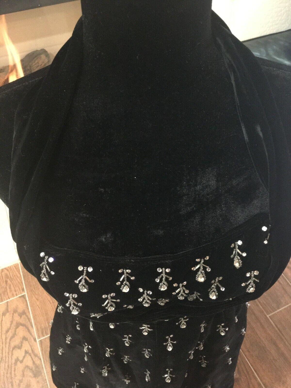 Vintage black velvet Ceil Chapman evening dress - image 4