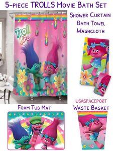 5pc Trolls Rainbow Bathroom Set Shower Curtain Foam Tub Mat Bath Towel Washcloth Ebay