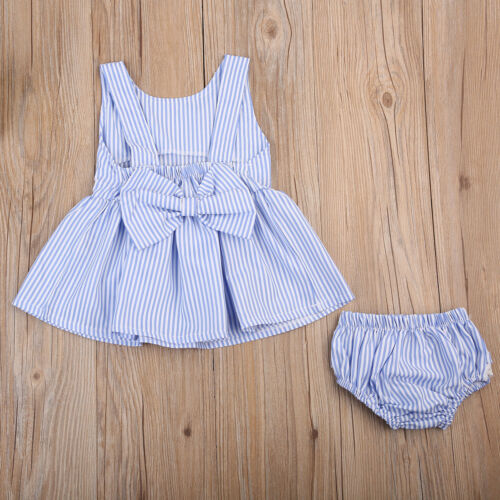 2Pcs Toddler Kid Baby Girl Summer Bow Striped Tutu Dress Top+PP Pants Outfit Set