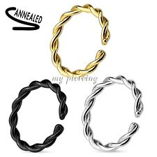 2pc Anodized Annealed Braide Seamless Hoop Ear Cartilage Labret Septum Nose Ring