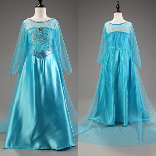 Elsa Dress Girls Kids Cosplay Party Costume Princess Fancy Dresses Gift Sets