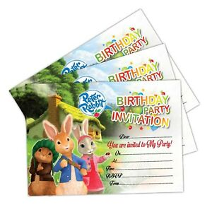 Details about Peter Rabbit Birthday Party Invitations, Set of 20 Invites  Kids Girls Boys child