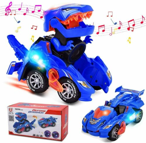 Transforming Dinosaur Toys Car with LED Light Music for 2 Year Old Kids Gifts