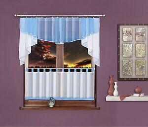 design scheibengardinen blau wei 2 teilige gardine. Black Bedroom Furniture Sets. Home Design Ideas