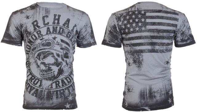 Archaic AFFLICTION Men T-Shirt RACER American Customs USA FLAG Biker M-3XL $40 b