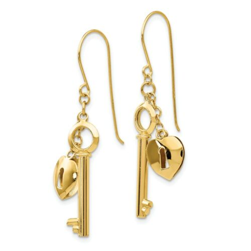 14k 14kt Yellow Gold  Puff Heart Lock and Key Earrings 38 mm X 13 mm