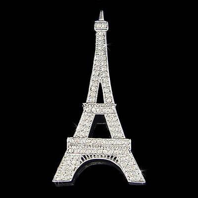 w Swarovski Crystal ~Big Eiffel Tower~ Paris France Souvenir Holiday Pin Brooch