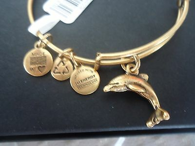Authentic Alex and Ani DOLPHIN Russian Gold Charm Bangle New W/ Tag Card & Box