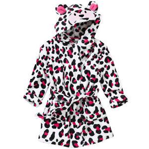 Animal-Crazy-Childs-Girls-Leopard-Animal-Print-Bath-Robe-Dressing-Gown-Fleece
