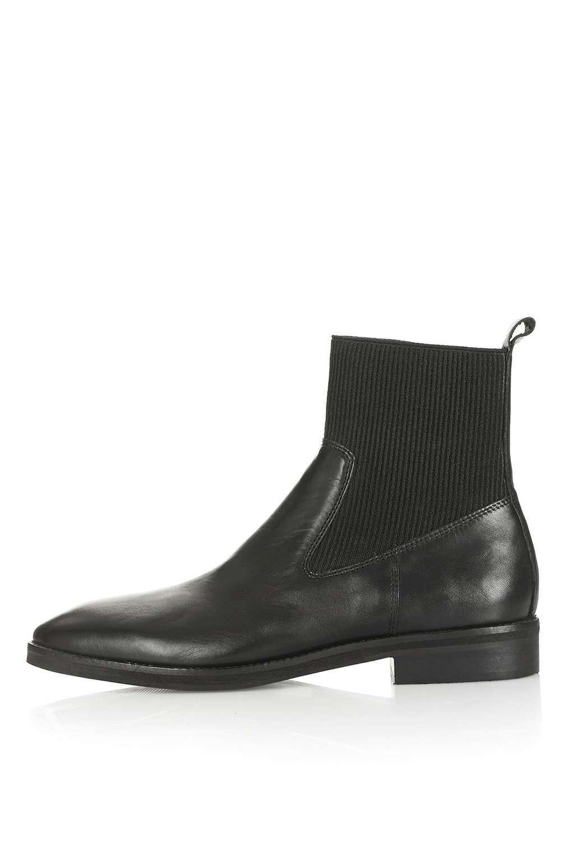 Nuevo TopShop Vaca Cuero Negro botas al Tobillo Elástico