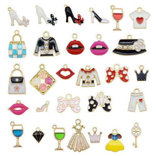 25pcs Enamel Plated Assorted Dress Lipstick Bag Shoe Pendant Charms DIY Findings