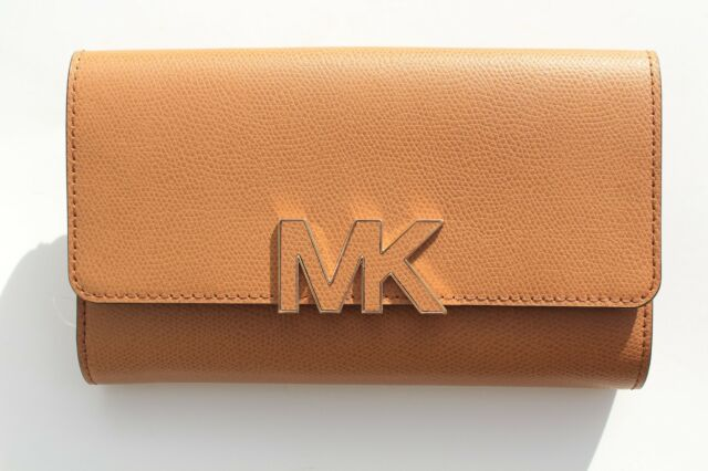 907d0cdad746 NEW MICHAEL KORS FLORENCE LARGE BILLFOLD LEATHER WALLET CLUTCH 38S7XREF7L  ACORN