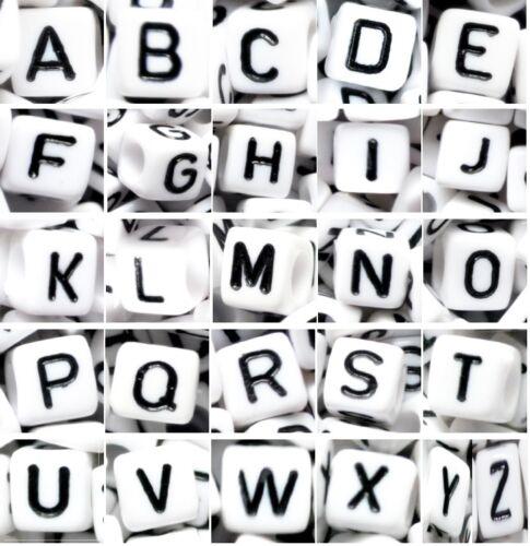 7 mm blanc perles noir lettre 100 set de 26 alphabet lettre de a à z cube