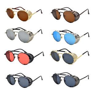 Punk-Mirror-Lens-Round-Glasses-Cyber-Goggles-Steampunk-Sunglasses-Vintage-Retro