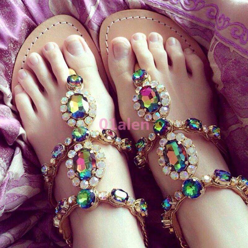 Gladiator Womens Ethnic Bohemia Multi Rhinestone Thong Roman Sandals shoes New