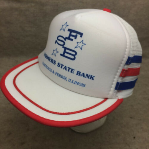 Vtg 3 Stripe Farmers State Bank IL Red White Blue