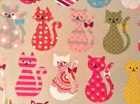 CATS Designer Curtain Upholstery Cotton Fabric Material 140cm wide cat canvas