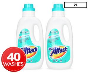 Details about 2 x Biozet Attack 3D Clean Action Top & Front Loader Laundry  Liquid 1L