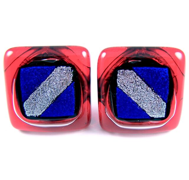 Cabinet Knobs Drawer Pulls Dichroic Fused Glass Red Blue Silver