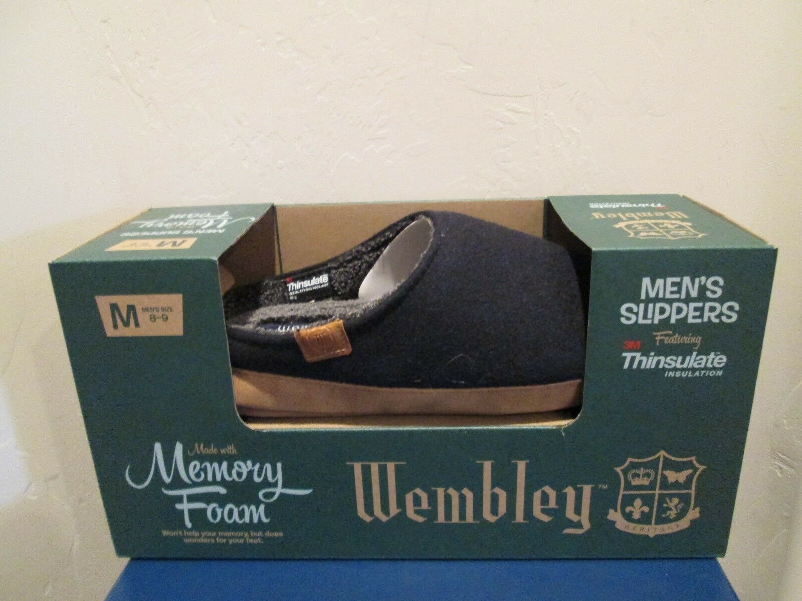 WEMBLEY  3M THINSULATE INSULATION MEM FOAM  SLIPPERS MENS SHOES SIZE M 8-9 NEW