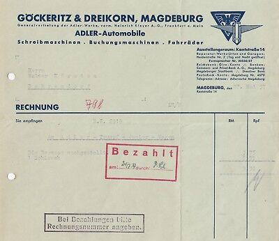 magdeburg rechnung 1937 g ckeritz dreikorn adler. Black Bedroom Furniture Sets. Home Design Ideas