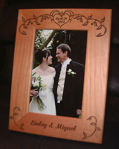 Personalized Engraved Wedding Vines 4x6 Wood Frame