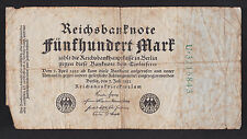 1922 Reichsbank Berlin Germany 500 Mark paper money bank note