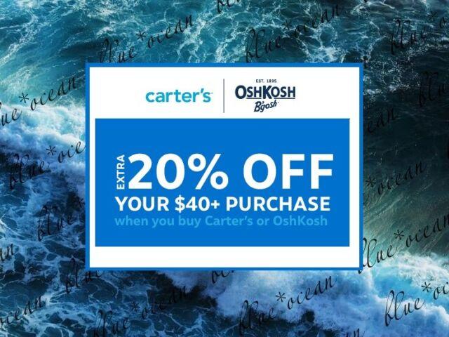 CARTER'S / OSHKOSH  15% off $20 / 20% off $40 coupon code (Exp 02/28/2021)