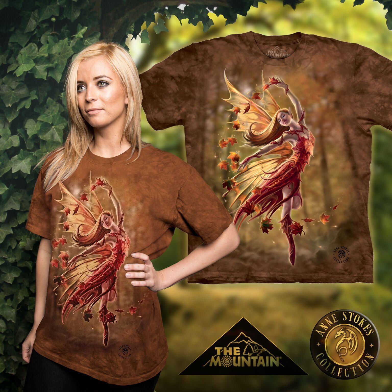 Anne Stokes Mountain T Shirt of Autumn Fairy     Size Large
