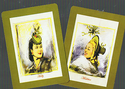 Playing Swap Cards  2 WIDE  NMD LADIES  SO CHIC HOLLY /& MISTLETOE   ARTIST W348
