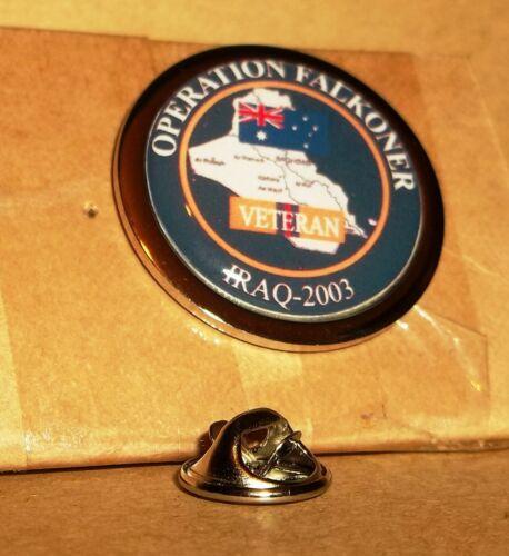 AUSTRALIAN ARMED FORCES OPERATION FALKONER IRAQ 2003 VETERAN LAPEL PIN BADGE