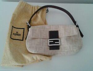 Image Is Loading Authentic Fendi Baguette Bag Purse Cream Logo Linen
