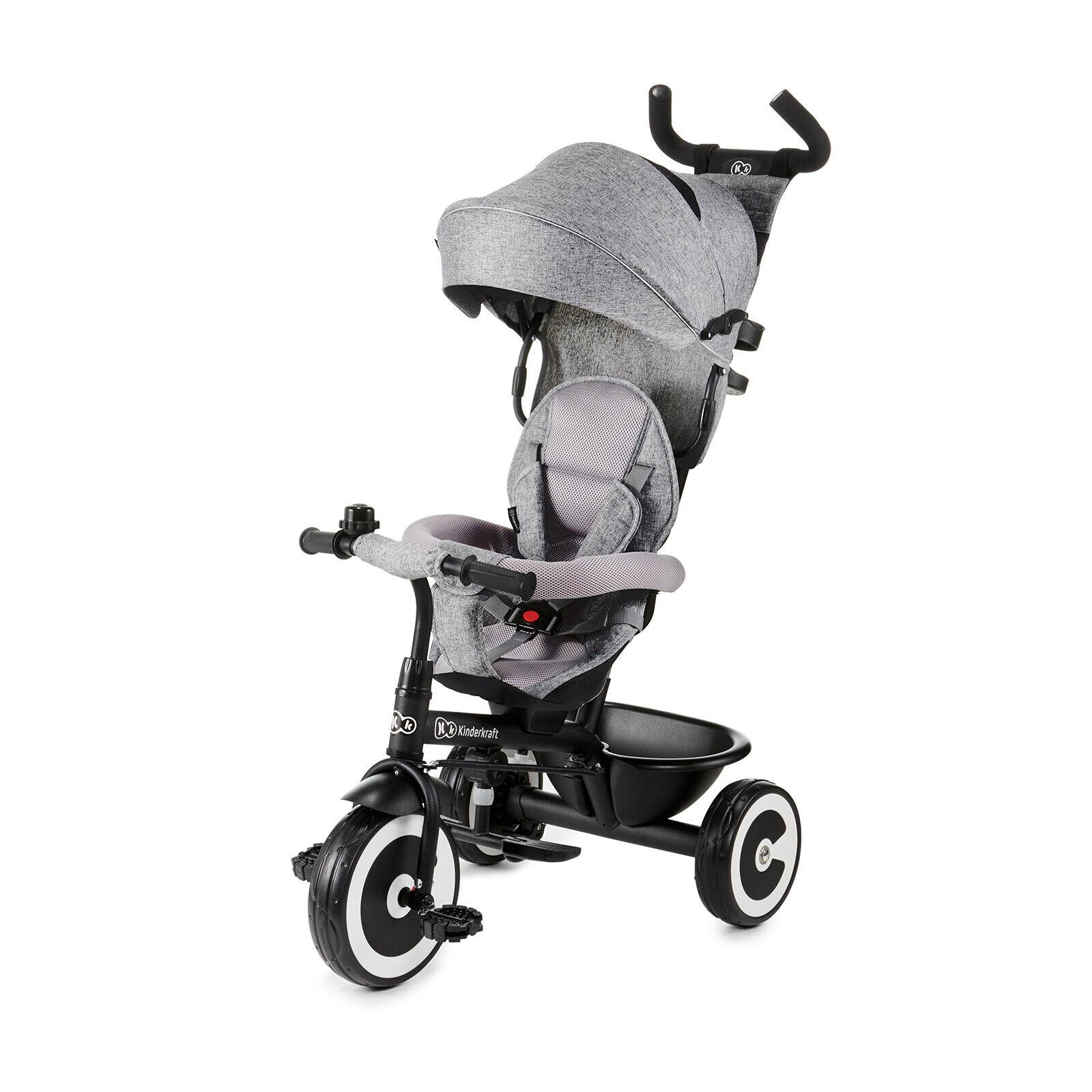 Kinderkraft Dreirad ASTON Kinderdreirad Jogger mit Zubehör Dachfenster Grau