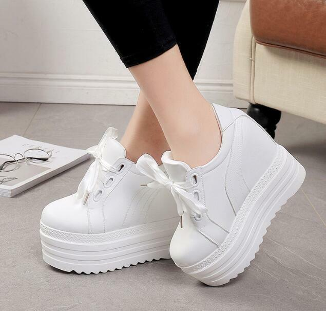 Platform Women White Wedge Lace up up up shoes Round Toe Low Top Hidden Heels Simple 502977