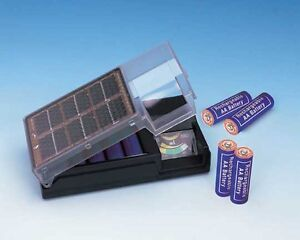 Solar Battery Charger For AA w/ Meter!  Comes With 2 AA Rechargeable Batteries!!