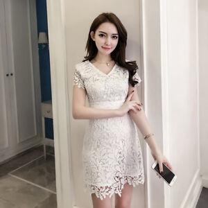 finest selection cd56c b536f Dettagli su Elegante vestito abito corto tubino bianco pizzo evento lungo  slim morbido 4404
