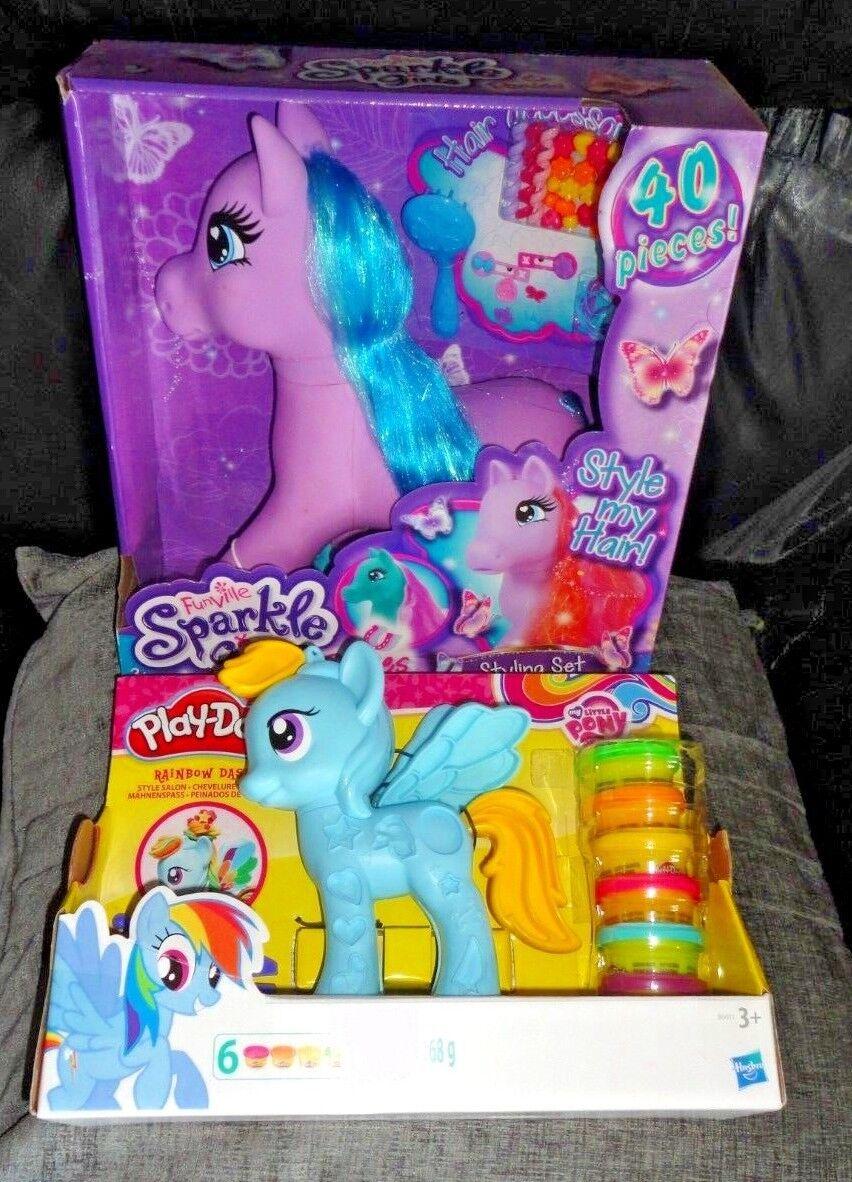 Sparkle Girlz Ponies 40 Piece Styling Set & Rainbow Dash Play-Doh My Little Pony