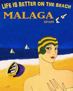 POSTER MAJORCA ISLAND SPAIN BEACH FASHION SAILING DANCING VINTAGE REPRO FREE S//H