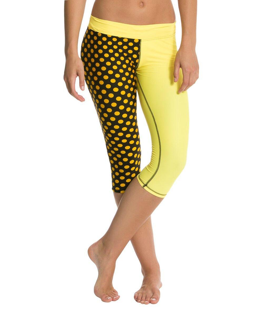 Mahiku Rome Kini Capri Sport Leggings Yellow Polka Dot NWT Activewear Hawaii