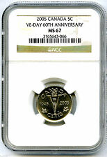 2005 CANADA 5 CENT NGC MS67 VE-DAY 60TH ANNIVERSARY VICTORY V NICKEL WWII RARE !