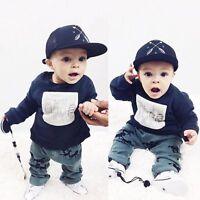 2pcs Newborn Kid Baby Boy Outfit Long Sleeve T-shirt Top+Pants Clothes Set 0-24M