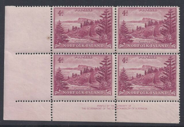 1947 NORFOLK ISLAND BALL BAY 4d CLARET IMPRINT BLOCK OF 4 MINT MUH/MNH our ref A