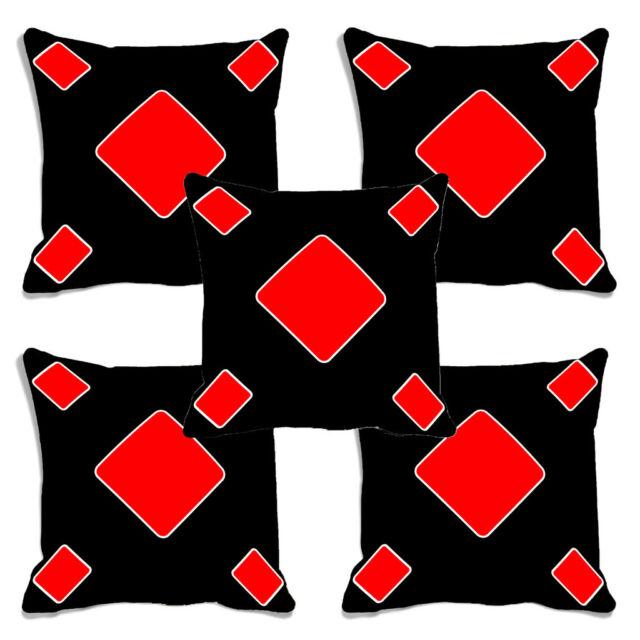 meSleep Black Poker Digitally Printed Cushion Cover (16X16)- Set of 5