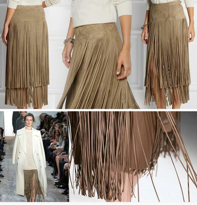 Womens Occident Modern Tassels Skirt Party Mid Long Punk Dresses Double 2019