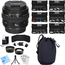 Canon EF 50mm f/1.4 USM Telephoto Lens for Canon SLR Cameras Photography Bundle